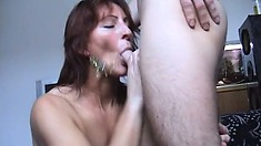 Redheaded Milf toys herself, eats dick and gets her asshole nailed