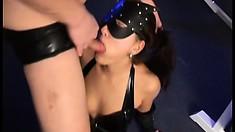 Kinky fetish slut Alena gives a knob job for cum before and after she fucks