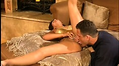Striking brunette with nice tits welcomes a hard stick deep in her ass