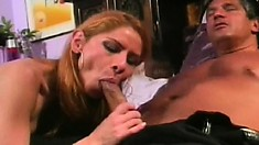 Buxom exotic lady touches herself before getting fucked in both holes