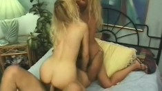 Two mature bleach blondes gets analized with a cock and beads