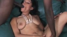 Yellow bone slut with a massive ass gets slammed by a big black cock