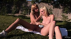 Outside romance with two lesbian babes groping for some lovin'