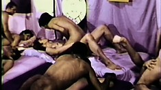 Huge set of horny hunks enjoy so much cock in a vintage anal party