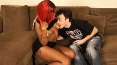 Fine-featured black woman with tattoo on her ass is licked and fucked by white dude