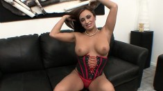 Topless Claudia Valentine drops to her knees and strokes his cock